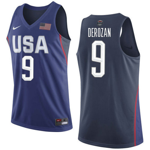 Nike Team USA 9 DeMar DeRozan Navy Blue 2016 Dream Team NBA Jersey