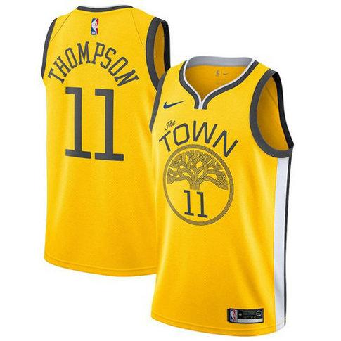 Nike Warriors #11 Klay Thompson Gold Big size custom