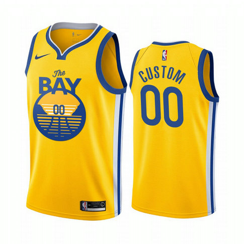 Nike Warriors Custom 2019-20 Men's Yellow The Bay City Edition NBA Jersey