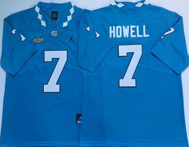 North Carolina Tar Heels 7 Sam Howell Blue College Football Jersey