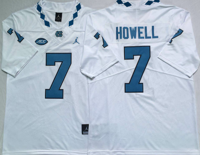 North Carolina Tar Heels 7 Sam Howell White College Football Jersey