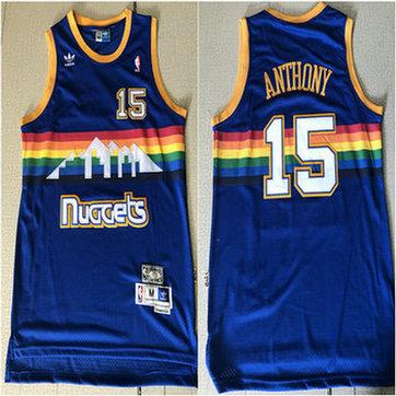 Nuggets 15 Carmelo Anthony Blue Hardwood Classics Jersey