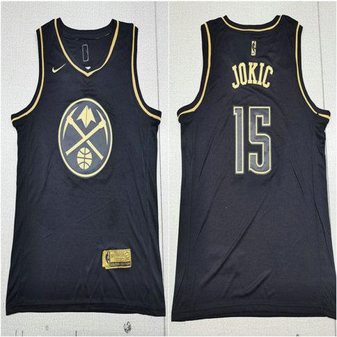 Nuggets 15 Nikola Jokic Black Gold Nike Swingman Jersey