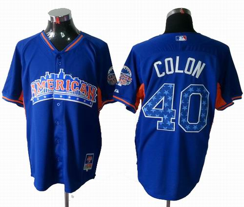 Oakland Athletics 40 Bartolo Colon American League 2013 All Star blue Jersey