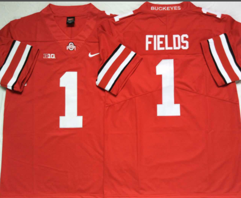 Ohio State Buckeyes 1 Justin Fields Limited College Football Red Jersey