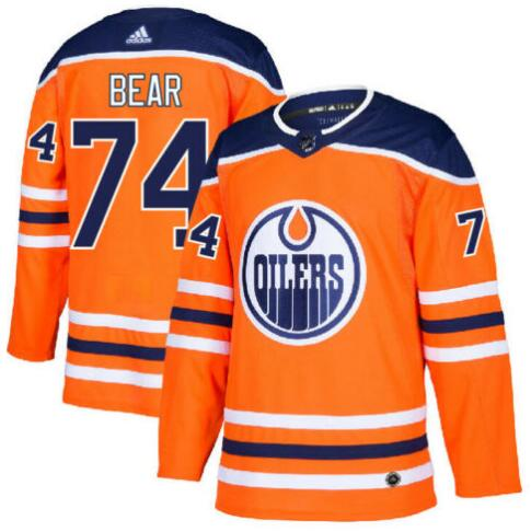 Oilers 74 Ethan Bear Orange Adidas Jersey