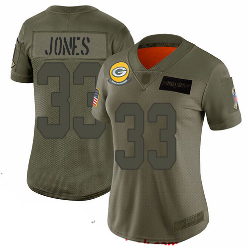 Packers #33 Aaron Jones Camo Women's Stitched Football Limited 2019 Salute to Service Jersey
