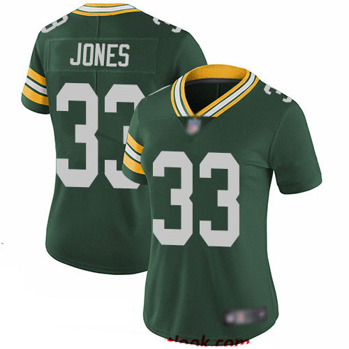 Packers #33 Aaron Jones Green Team Color Women's Stitched Football Vapor Untouchable Limited Jersey
