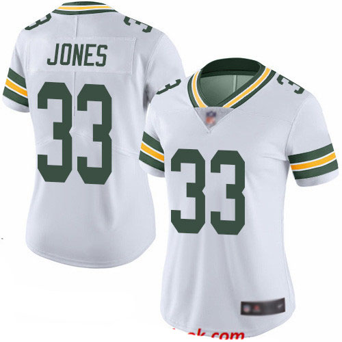 Packers #33 Aaron Jones White Women's Stitched Football Vapor Untouchable Limited Jersey
