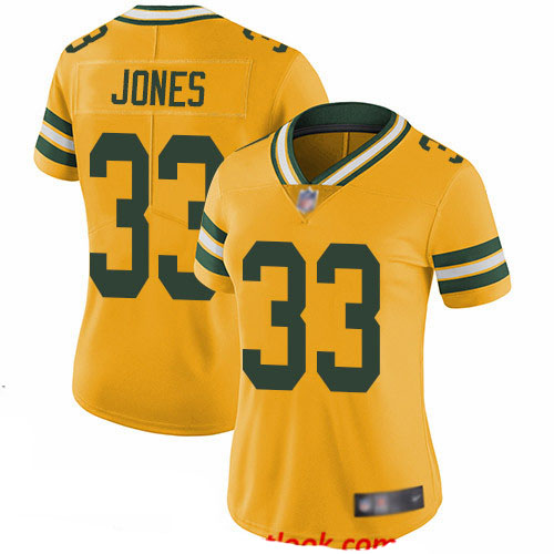Packers #33 Aaron Jones Yellow Women's Stitched Football Limited Rush Jersey