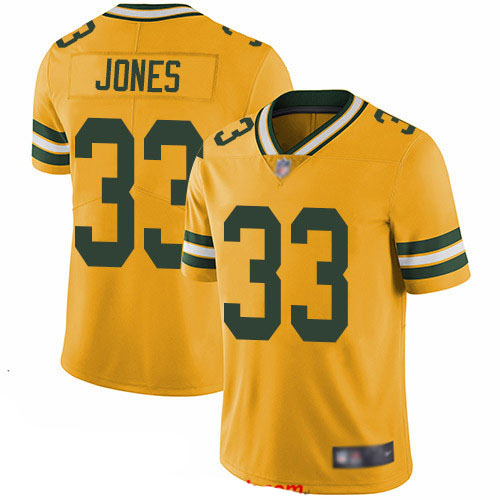 Packers #33 Aaron Jones Yellow Youth Stitched Football Limited Rush Jersey