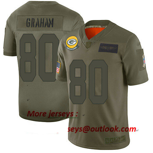 Packers #80 Jimmy Graham Camo Youth Stitched Football Limited 2019 Salute to Service Jersey