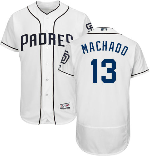 Padres #13 Manny Machado White Flexbase Authentic Collection Stitched Baseball Jersey1