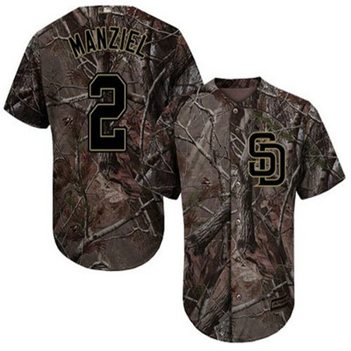 Padres #2 Johnny Manziel Camo Realtree Collection Cool Base Stitched Youth Baseball Jersey