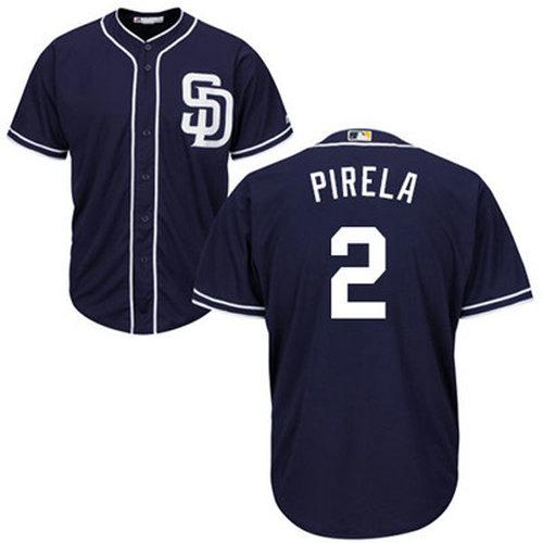 Padres #2 Jose Pirela Navy blue Cool Base Stitched Youth Baseball Jersey