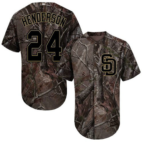Padres #24 Rickey Henderson Camo Realtree Collection Cool Base Stitched Baseball Jersey