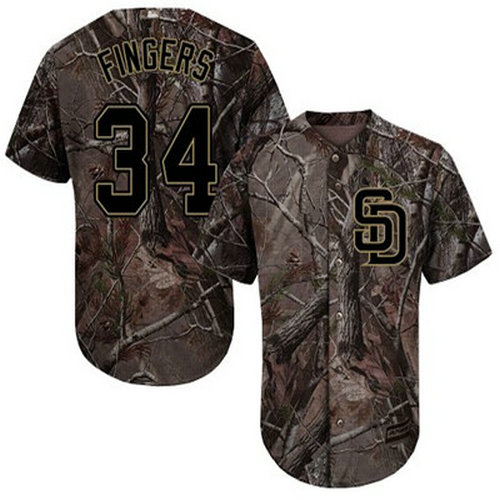 Padres #34 Rollie Fingers Camo Realtree Collection Cool Base Stitched Youth Baseball Jersey
