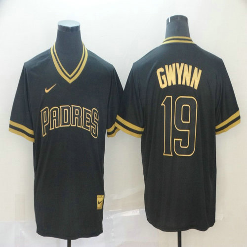 Padres 19 Tony Gwynn Black Gold Nike Cooperstown Collection Legend V Neck Jersey