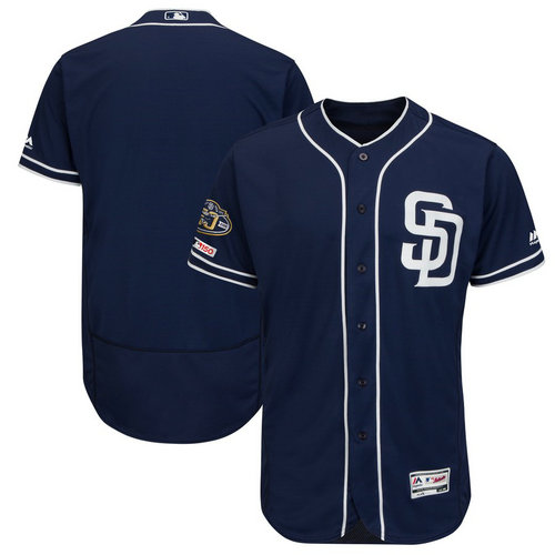 Padres Blank Navy 50th Anniversary And 150th Patch FlexBase Jersey