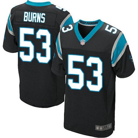 Panthers #53 Brian Burns Black Team Color Men's Stitched Football Elite Jersey
