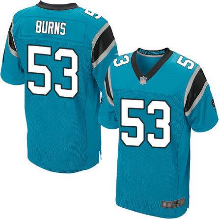 Panthers #53 Brian Burns Blue Alternate Men's Stitched Football Elite Jersey