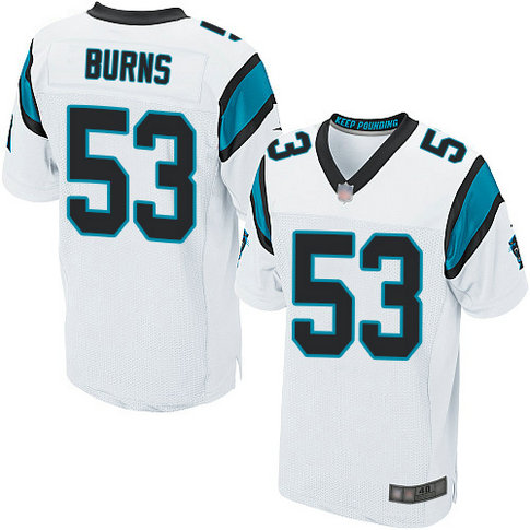 Panthers #53 Brian Burns White Men's Stitched Football Elite Jersey