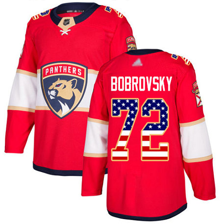 Panthers #72 Sergei Bobrovsky Red Home Authentic USA Flag Stitched Youth Hockey Jersey