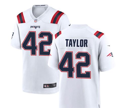 Patriots #42 J.J. Taylor White Vapor Limited Jersey