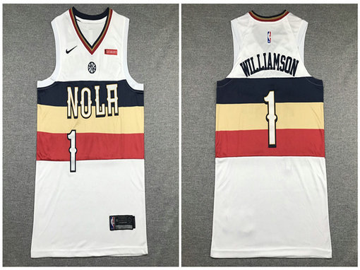 Pelicans 1 Zion Williamson White Earned Edition Nike Authentic Jersey