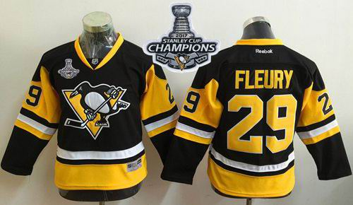 Penguins #29 Marc Andre Fleury Black Alternate 2017 Stanley Cup Finals Champions Stitched Youth NHL Jersey