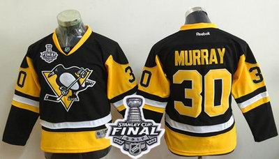 Penguins #30 Matt Murray Black Alternate 2017 Stanley Cup Final Patch Stitched Youth NHL Jersey