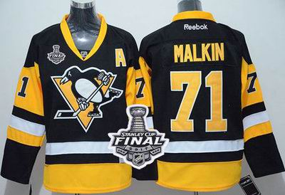Penguins #71 Evgeni Malkin Black Alternate 2017 Stanley Cup Final Patch Stitched Youth NHL Jersey