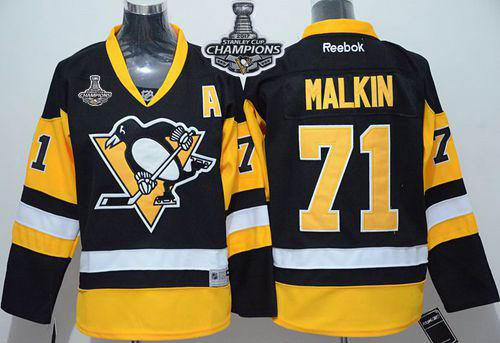 Penguins #71 Evgeni Malkin Black Alternate 2017 Stanley Cup Finals Champions Stitched Youth NHL Jersey