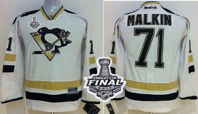Penguins #71 Evgeni Malkin White 2014 Stadium Series 2017 Stanley Cup Final Patch Stitched Youth NHL Jersey