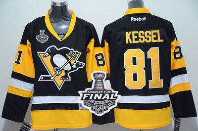 Penguins #81 Phil Kessel Black Alternate 2017 Stanley Cup Final Patch Stitched Youth NHL Jersey