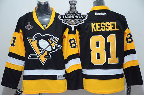 Penguins #81 Phil Kessel Black Alternate 2017 Stanley Cup Finals Champions Stitched Youth NHL Jersey