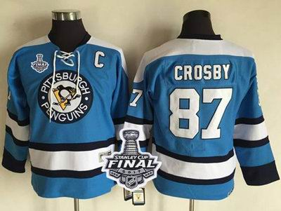 Penguins #87 Sidney Crosby Blue CCM Throwback 2017 Stanley Cup Final Patch Stitched Youth NHL Jersey