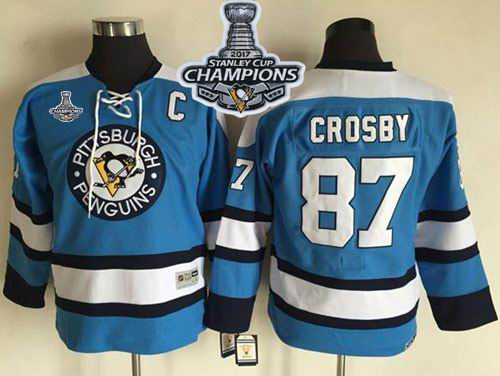 Penguins #87 Sidney Crosby Blue CCM Throwback 2017 Stanley Cup Finals Champions Stitched Youth NHL Jersey