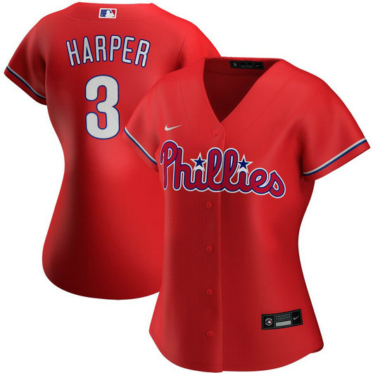 Philadelphia Phillies #3 Bryce Harper Nike Women's Alternate 2020 MLB Player Jersey Red