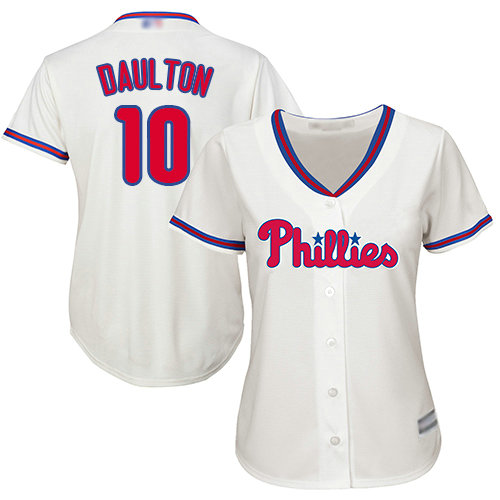 Phillies #10 Darren Daulton Cream Alternate Women's Stitched Baseball Jersey
