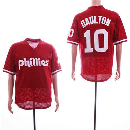 Phillies #10 Darren Daulton Red Mesh BP Jersey