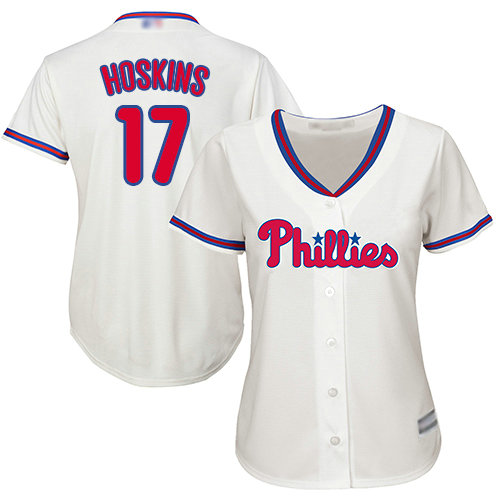 Phillies #17 Rhys Hoskins Cream Alternate Women's Stitched Baseball Jersey