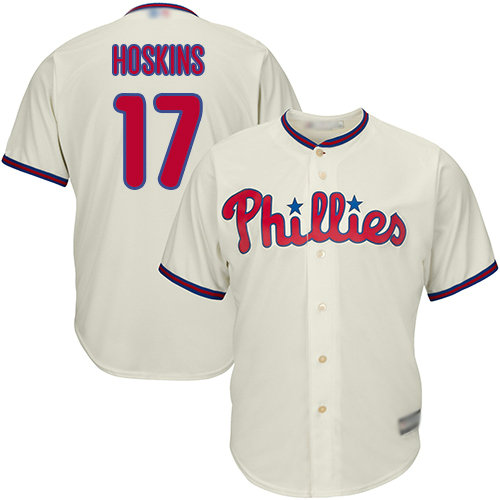 Phillies #17 Rhys Hoskins Cream Cool Base Stitched Youth Baseball Jersey