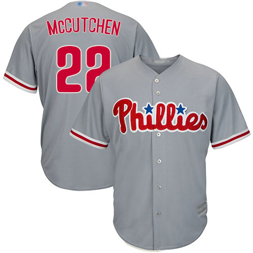 Phillies #22 Andrew McCutchen Grey Cool Base Stitched Youth Baseball Jersey