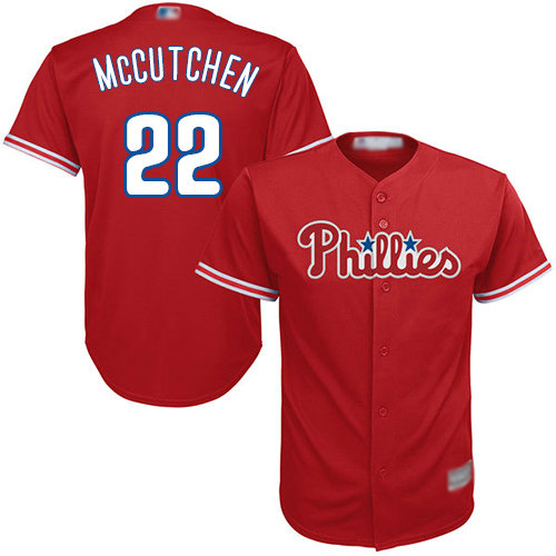 Phillies #22 Andrew McCutchen Red Cool Base Stitched Youth Baseball Jersey