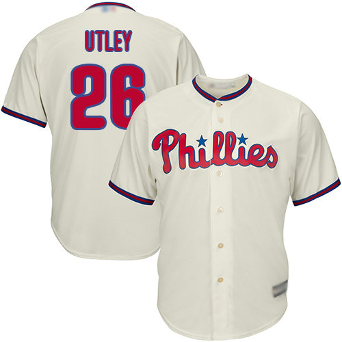 Phillies #26 Chase Utley Stitched Cream Youth Baseball Jersey