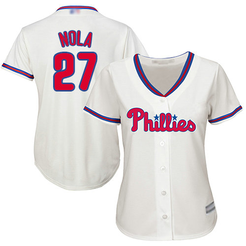 Phillies #27 Aaron Nola Cream Alternate Women's Stitched Baseball Jersey