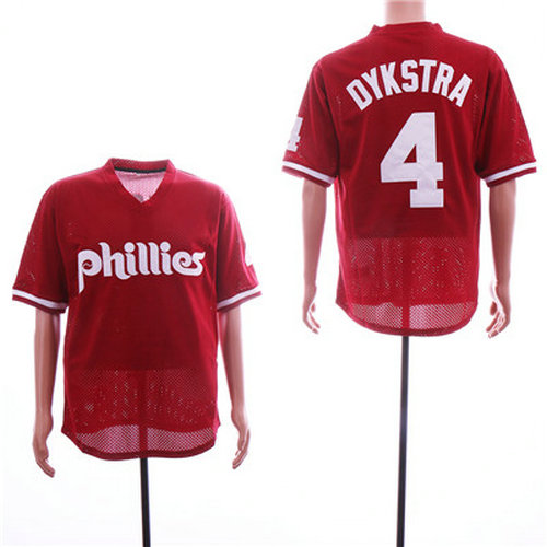 Phillies #4 Lenny Dykstra Red Mesh BP Jersey