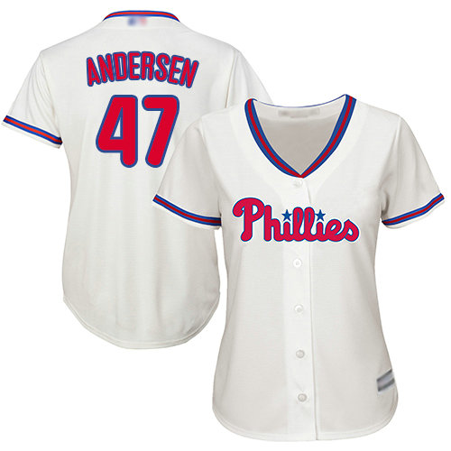 Phillies #47 Larry Andersen Cream Alternate Women's Stitched Baseball Jersey