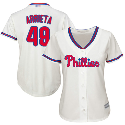 Phillies #49 Jake Arrieta Cream Alternate Women's Stitched Baseball Jersey